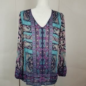 Lucky brand purple teal paisley top size xs